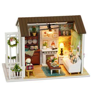 DIY Miniatur Puppenhaus Kit Realistische Mini 3D Holzhaus Zimmer Handwerk mit Moebel LED-Leuchten Kindertag Geburtstag Weihnachtsgeschenk