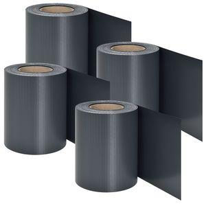 Juskys PVC Sichtschutzstreifen Doppelstabmatten Zaun 4er Set | 4 Rollen á 35m x 19cm | Befestigungsclips | Zaunfolie Sichtschutz Windschutz – anthrazit