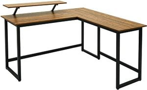 Meerveil Computertisch L-förmiger Schreibtisch, Eckschreibtisch aus Metall, Abnehmbarer Monitorständer, Vintage-Holzmaserung + Schwarz