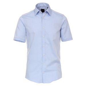 Größe 43 Venti Hemd Hellblau Uni Kurzarm Slim Fit Tailliert Kentkragen 100% Baumwolle Popeline Bügelfrei