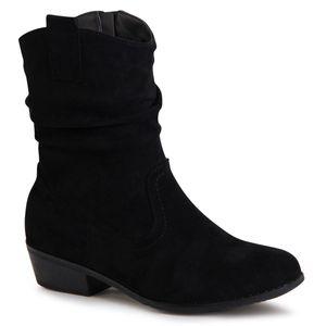 topschuhe24 1751 Damen Velours Stiefeletten Cowboy Stiefel, Farbe:Schwarz, Größe:37 EU