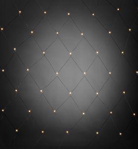 Konstsmide - LED Lichternetz, mit weißen Globes, 80 warm weiße Dioden, 24V Außentrafo, schwarzes Kabel ; 3679-107
