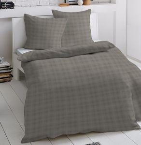 Schloß Holte Damast Bettwäsche 2 teilig Bettbezug 135 x 200 cm Kopfkissenbezug 80 x 80 cm  Karo taupe