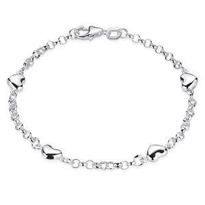 MATERIA Herz Armband Kinder Mädchen - 925 Silber Armkettchen 16cm Silberarmband mit Herzchen in Geschenk Box SA-108