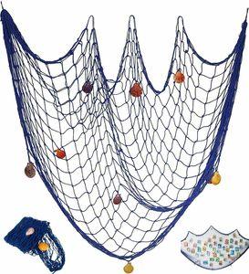Fischernetz Dekoration 100*200cm mit Muscheln zum Aufhängen Maritime Deko-Netze
