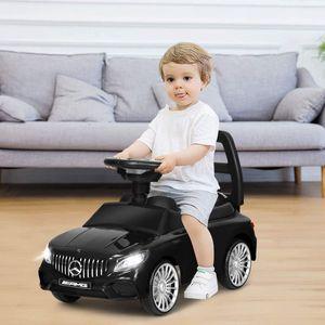 COSTWAY 2 in 1 Kinderauto und Schiebeauto mit LED Scheinwerfer, Hupe und Musik, Rutschauto mit Aufbewahrungsfach unter dem Sitz, Kinderrutscher, Spielzeugauto für Kinder Schwarz