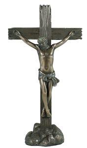 Dekofigur Jesus am Kreuz Kruzifix Skulptur Christus Opfer Weihnachtsdeko