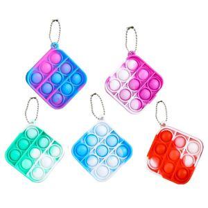 5 Stk. Einfaches Zappeln Spielzeug Mini Stressabbau Handspielzeug Schlüsselbund Spielzeug Push Pop Bubble Angst Stressabbau(Quadrat)