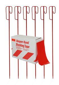 Absperrband rot/weiß 250m inkl.6 x Absperrleinenhalter rot als Absperrset