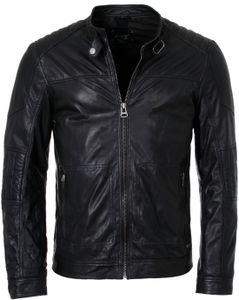 Maze Herren Lederjacke Jack Übergangsjacke schwarz Biker Look , Grösse:XL, Farbe:Schwarz