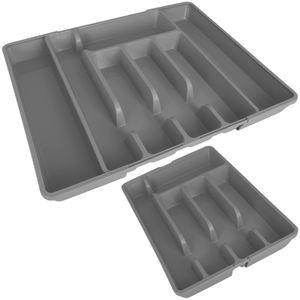Alpina Besteckkasten ausziehbar grau 27-44cm für Schubladen Besteckfach Kunststoff Besteckeinsatz Schubladeneinsatz