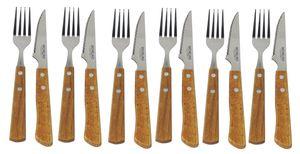 Steakbesteck Grillbesteck 12-teilig – Steakgabel & Steakmesser - Edelstahl mit Holzgriff und polierter Klinge - im Geschenkkarton – Spülmaschinengeeignet
