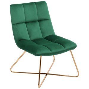 Sessel Stuhl Samt Dunkelgrün gesteppt Lounge Sessel Relax Sessel Gestell Golden