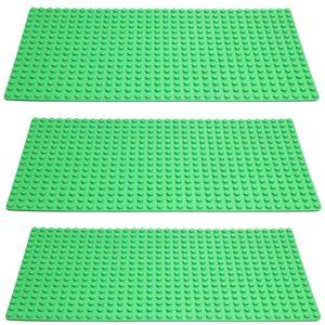 (XXX) 3er Set Grün Große Grund- Bauplatte Mit Noppen Für  - 51 cm x 26 cm, Rechteckig Für Häuser uvm. - Riesige Platte für riesigen Spaß