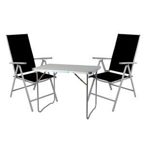 3-teiliges Campingmöbel Set Aluminium Textilen schwarz