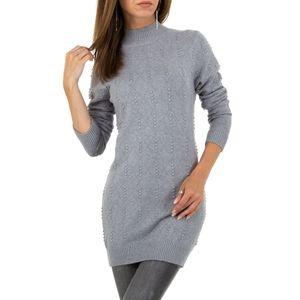 Ital-Design Damen Pullover & Strick Longpullover Grau Gr.s/M