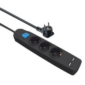 Steckdosenleiste 3 fach mit 2 USB Ladebuchsen Schalter flachem Winkelstecker 3 m Kabel schwarz