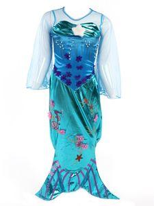 Meerjungfrau Kostüm-Kleid für Mädchen 128/134 (Etikett 140) Blau