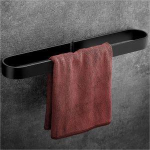 Wangel Handtuchstange Handtuchhalter ohne Bohren 40cm, Handtuchring, Patentierter Kleber + Selbstklebender Kleber, Aluminium, Matte Finish, Schwarz