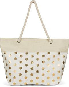 styleBREAKER Damen XXL Große Strandtasche mit Metallic Punkte Muster und Reißverschluss, Schultertasche, Shopper 02012342, Farbe:Beige-Gold