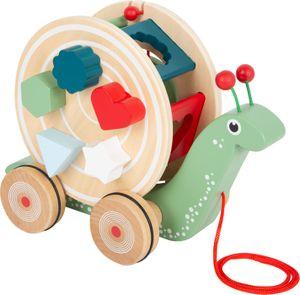 small foot 11734 Nachzieh-Stecktier Schnecke aus Holz, Motorikspielzeug zum Laufen lernen für Kinder ab 12 Monaten