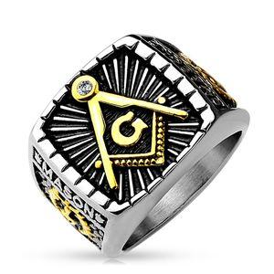 Freimaurer Ring Herren Edelstahl Tempelritter Ring Masonic Siegelring Symbol G silber 64 - Ø 20,57 mm