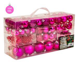 100 teiliges  Set Lamettini Pink Weihnachtskugeln Spitze Lametta Anhänger