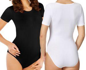 2 Stück Damen Body Schwarz oder Weiß Kurzarm Bodys Bodysuit 302 Größe XL Farbe Weiß