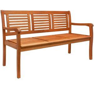 Deuba Gartenbank Bologna 3-Sitzer l 153 x T 60 x H 90 cm, Eukalyptusholz, Farbe naturbelassen