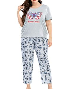 Sexydance Damen Schlafanzüge Schmetterling Pyjama Set Homewear Nachtwäsche Loungewear,Farbe:Grau,Größe:XXL