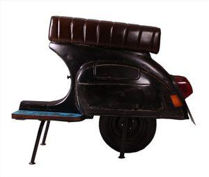 SIT Möbel Barhocker   recyceltes Roller-Heck   Sitz Kunstleder   Gestell Altmetall lackiert schwarz   B 110 x T 53 x H 88 cm   01054-25   Serie THIS & THAT