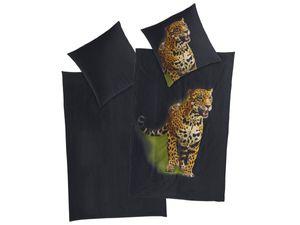 Satin Bettwäsche 155 x 220 cm 80 x 80 cm Übergröße Baumwolle Bettgarnitur        Leopard