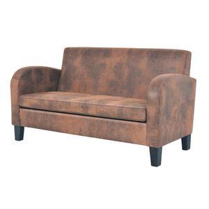 vidaXL 2-Sitzer Sofa Künstliches Veloursleder Braun