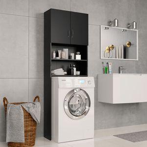 Waschmaschinenschrank Schwarz 64×25,5×190 cm Spanplatte