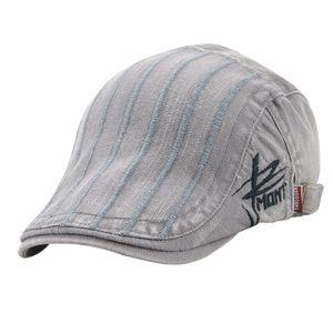 Baumwolle Schiebermütze Schirmmütze Newsboy Hüte Streifen Baskenmütze Hut Grau wie beschrieben