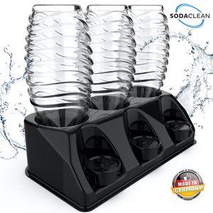SODACLEAN® Premium 3er Flaschenhalter aus Kunststoff schwarz Hochglanz | Abtropfhalter für SodaStream Aarke Emil Flaschen inkl. Deckelhalterung | Abtropfgestell spülmaschinenfest | Crystal Easy Power Duo