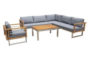 OUTFLEXX Ecklounge, natur/grau, Edelstahl/Teak, 6 Personen, inklusive Sessel und Multifunktionstisch 100 x 70 cm, Lehne links
