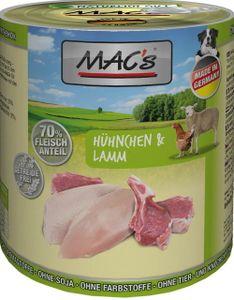 6x800g MAC's Dog Hühnchen & Lamm Hunde Nassfutter