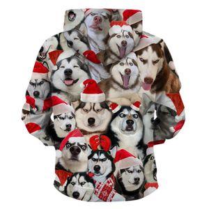 neue Weihnachtsstrickjacke lustiger Weihnachtshund 3d druckte mit Kapuze Strickjacke lose mit Kapuze Paarstrickjacke XL