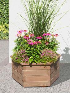 Blumenkübel / Pflanzkasten 6-eckig Holz Lärche Ø60x35cm
