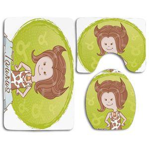 ABPHQTO Stier Nettes Cartoon kleines Mädchen, gekleidet wie Kuhflecken und Hörner 3 teiliges Badezimmerteppichset Badteppichkonturmatte und Toilettendeckel Abdeckung