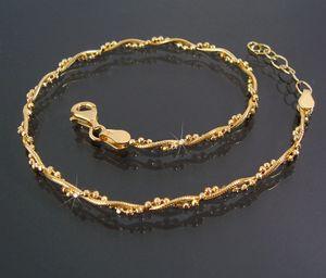 Fußkette Schlangenkette Kugelkette 925 Silber GOLD 24-27cm 16822G-27