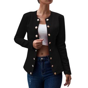 Women Daily Zweireiher Blazer Langarmjacke Damen Office Wear Coat Größe:L,Farbe:Schwarz