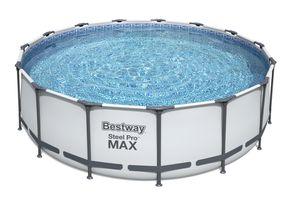 Steel Pro Max™ Frame Pool Komplett-Set, rund, mit Filterpumpe, Sicherheitsleiter & Abdeckplane 457 x 122 cm