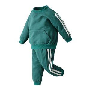 IEFIEL Unisex Kinder Jogginganzug 2 tlg Bekleidungsset Sportanzug Trainingsanzug für Mädchen Jungen,Grün,Gr.98-104