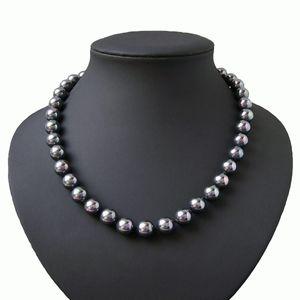 Perlenkette Muschelkern Perlen tahitigrau 10mm Collier Braut K2015