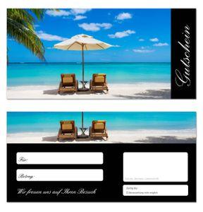 100 Stück Geschenkgutscheine (Strand-647) - Gutscheinkarten Gutscheine für Bereiche Wellness, Erholung, Entspannung oder Kosmetik und Reisen Meer Palmen
