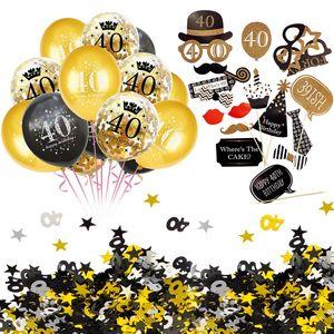 Oblique Unique 40. Geburtstag Party Feier Deko Set - Ballons + Fotorequisiten + Konfetti