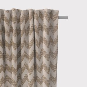 SCHÖNER LEBEN. Vorhang Vorhangschal mit Smok-Schlaufenband Chevron natur 245cm oder Wunschlänge