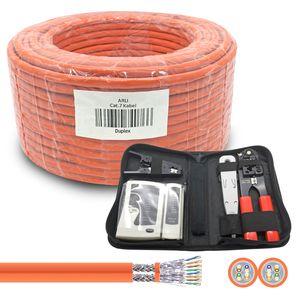 ARLI Cat7 Verlegekabel Duplex 50m Netzwerkkabel + Werkzeug Set Crimpzange + LSA + Tester + Messer